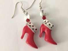 Christmas Boot Earrings Cute little Red Boot by GoPlethora on Etsy