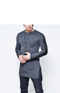 Tops :: Vertical Leather Sleeve Unbalance Long-Knit 119 - Mens Fashion Clothing For An Attractive Guy Look