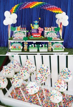 The terrific Pocoyo In The Park Backyard Birthday Bash // Hostess With Throughout Pocoyo Party Decorations photograph below, is … Birthday Party At Park, Backyard Birthday, Birthday Party Desserts, Diy Birthday Cake, 10th Birthday Parties, 1st Boy Birthday, Rainbow Birthday, Food Truck Party, Food Trucks