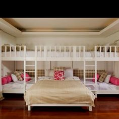 "sleepover room - such a cool idea.if you had extra room to just have a dedicated ""sleepover"" room Bunk Rooms, Bunk Beds, Loft Beds, Home Bedroom, Girls Bedroom, Bedroom Ideas, Bedroom Photos, Bedroom Modern, Master Bedrooms"
