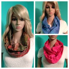 Tie dye infinity scarves in olive with multicolored leaves, blue with a swirl design, and hot pink-orange with a floral design, by Beckysscarfshop on Etsy, $15.00