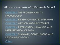 Chapters Of Research Chapter Essay Research Paper