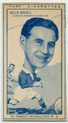Cigarette card from 1940s featuring Willie Waddell
