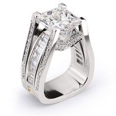 Interlace 142-R04 Bridal Diamonds Ring - 5.79ct Princess Cut Diamond accented by Princess and Round Brilliant Cut Diamonds set in Platinum. #PrincessCutDiamonds