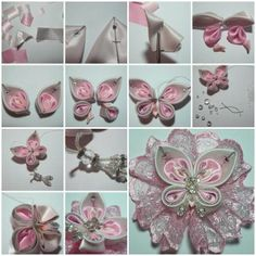 DIY da borboleta da fita do cetim bonito 1