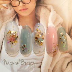 Sparkle Nails, Fancy Nails, Love Nails, Nail Palace, Korea Nail Art, Kawaii Nails, Japanese Nails, Pretty Nail Art, Shellac Nails