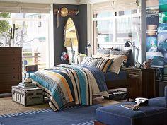 Beadboard Tavarua Bedroom // the ultimate guys room for summer Comforter Sale, Interior Styling, Surfboard Storage, Surf Bedroom, Storage Mirror, Teen Bedding, Bedroom Themes, Furniture Decor, Pbteen