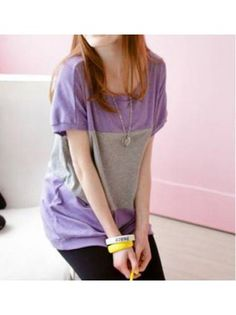 Loose Round Neck Short Sleeve Colorblocked Purple Wool Blends T-shirt