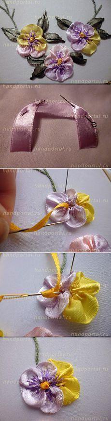 «Анютины глазки из присобранной ленты и колониальный узелок» — цветы как украшение одежды. | Золотые Руки