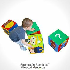 Setul format din 4 cuburi mari, usor de manevrat de catre copii, dezvolta creativitatea, imaginatia si jocul logic prin posibilitatea aranjarii elementelor in asa fel incat sa formeze cele 6 meserii afisate: bucatar, doctor, postas, politist, pompier si constructor. • Producător: Kinderfun™ Soft Play România Kids Rugs, Decor, Cots, Shape, Decoration, Kid Friendly Rugs, Decorating, Nursery Rugs, Deco