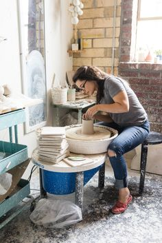 In addition to shaping and firing her own clay, Britt McDaniel also mixes her own glazes.