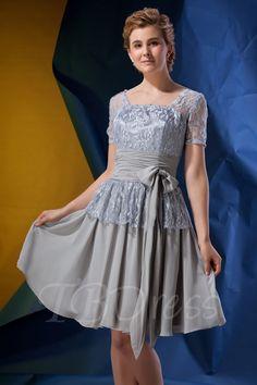 Tbdress.com offers high quality  Princess Square Neckline Short Sleeves Knee-length Alina's Mother of the Bride Dress Vintage Mother Dresses  unit price of $ 99.99.