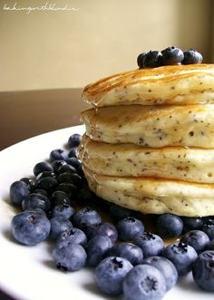 lemon poppyseed pancakes with fresh blueberries... Little tip - create a buttermilk substitute (you'll have plenty of lemons!). Add 1 tablespoon of lemonjuice to each cup of milk & let sit 5 minutes. No need for a fridge with spare buttermilk.