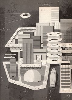 "Ilustración de Peter P. Plasencia para ""Jules Verne: The Man Who Invented the Future"" (1964)"