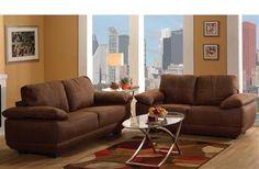Memphis Chocolate Nubuck Leather Living Room Set