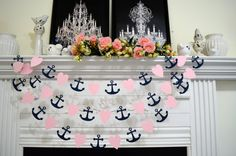 Nautical wedding decor anchor heart garland lime green garland heart and anchor garland wedding decorations nautical anchor garland navy blush pink bridal shower decor beach wedding decorations junglespirit Images