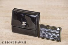 CHANEL Black Patent Leather Bifold Coin Purse Wallet