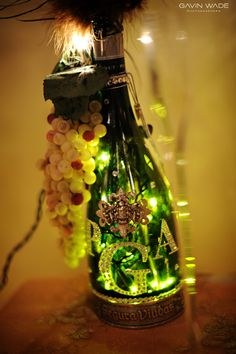 lights in a wine bottle