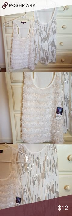 2 white fashion tops Can be sold separately! Never been worn. Like new condition. Left: NWT. White textured tank top. Brand is GLO. Size medium.  Right: NWOT. WHITE tank top with lines of silver sequence. Brand is BONGO. Size medium. Tops Tank Tops