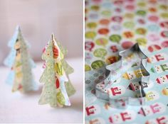 Paper Christmas Trees - Place tree shaped cookie cutter onto heavy scrapbook paper and fold each tree in half. Glue together and presto, you have a small tabletop tree. You can also glue a piece of string on top to hang as a decoration. (Link for this project is in Swedish but I had it translated).