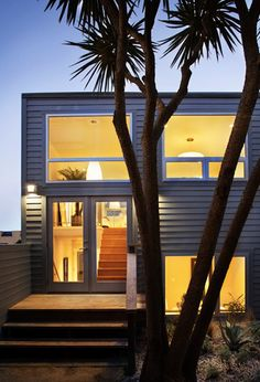 modern home exterior; dual awning window; agave; palm