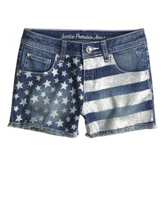 Stars And Stripes Glitter Denim Shorts   Shorties 2½ Inseam   Shorts   Shop Justice