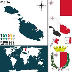 Buy Map of Malta by on GraphicRiver. Vector map of Malta with coat of arms and location on world map. Package contains: EPS version), JPG p.