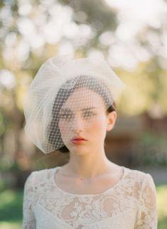 Double layer full birdcage veil -