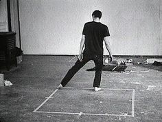 howdoyoudotoday:  Dance or exercise on the perimeter of a square (square dance) 1967-68,Bruce Nauman