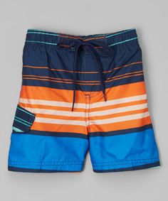 Look at this Kanu Surf Navy & Orange Halo Swim Trunks - Infant, Toddler & Boys on #zulily today!