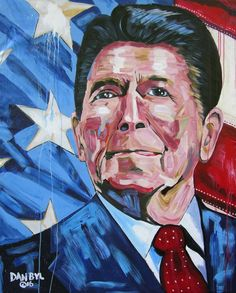 Ronald Reagan Huge Original Fine Art Painting by Dan Byl Original Art, Original Paintings, Yellow Umbrella, Sell My Art, Guy Pictures, Large Art, Artist Painting, Paintings For Sale, Lovers Art
