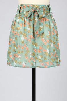 Vintage Floral A-Line Skirt with Obi Inspired Waist Tie by Tulle in Misty Jade