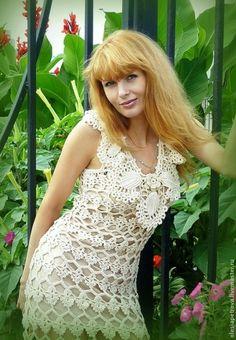 Купить Платье Ваниль - бежевый, платье вязаное, платье ажурное, платье авторское, платье летнее