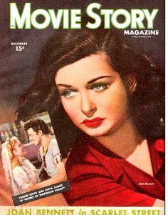 Joan Bennett on the cover of Movie Story magazine, December1945, USA.