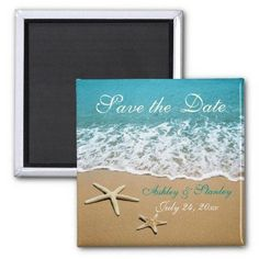 vow renewal save the date magnets   Pair of starfish beach wedding Save the Date Refrigerator Magnet