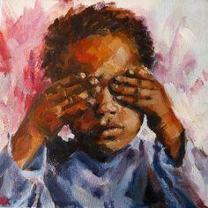 Don't peek (2013) Oil on canvas (300 x 300) #RosKochArt
