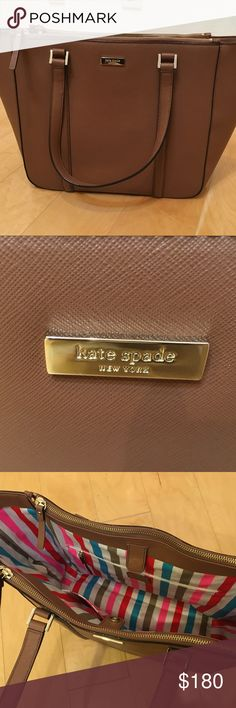 Kate Spade Large Tote, Brown Only been used once. It has a very small mark inside the bag. Kate Spade cover will be included. kate spade Bags Totes