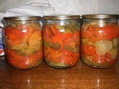 """Очень простой рецепт и очень вкусно! Огурцы,помидоры,сладкий перец, нарезать колечками кладем слоями в банку 0,5 л.сверху посыпаем 1 ч.ложку соли,1 ч.ложку сахара,1 ст.ложку уксуса,2-2,5 ст.ложки растительного масла,долить кипятка и стерилизовать 20-25 минут. Закатать. источник Похожие статьи:Печенье «Сладкие пуговицы»СтожкиБлинчики на кефире «Сказочные»Свинина """"Ананасовое наслаждение""""САМЫЙ ВКУСНЫЙ """"РЫЖИК""""Как приготовить салат «Наваждение»Варенье из персиков (самое простое).Советы , без…"""