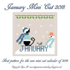 January Mini Cat Cross Stitch Pattern 2018