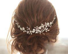 SALE Wedding Pearl Headband Wedding Halo Crystal by VeiledBeauty