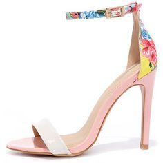 Sugar Dumpling Pink Floral Ankle Strap Heels | $33.00