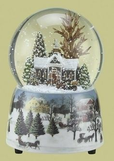 """Pack of 2 Musical Winter Church Scene Christmas Snow Globe Glitterdomes 5.5"""" by Roman. $69.99. From the Glitterdomes CollectionItem #34060Feature a snowy church at Christmas timeEach winds up and plays the tune """"The First Noel""""Dimensions: 5.5""""H x 4""""W x 4""""DMaterial(s): water/glass/resin/glitterPack includes 2 of the glitterdome shown"""