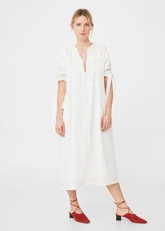 Vestido algodón lazos | MANGO