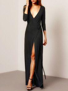 Black Maxi Dress with V Neck and Split