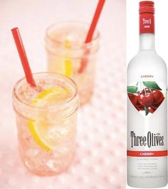 "Searching for the perfect summer cocktail? Look no further than the Three Olives ""Sparkling Cherry Lemonade""!  Three Olives Cherry Vodka  Lemonade  Splash Lemon-Lime Soda"