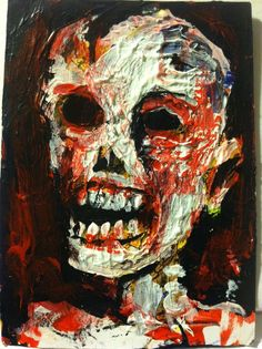 """ZOMBIE ART abstract,   original art,ACEO  jack larson 3.5""""x2.5"""" #Abstract"""