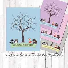 """Thumbprint Guest Tree Poster, Forest Friends, Rustic Baby Shower with Woodland Animals, 11""""x14"""" Printed Design by EvergreenandWillow on Etsy https://www.etsy.com/listing/157732030/thumbprint-guest-tree-poster-forest"""