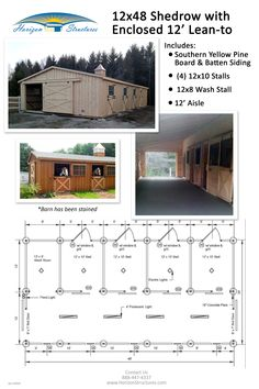 This 12x48 Shedrow barn becomes a lot more functional with the addition of a 12' enclosed lean-to/overhang