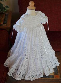 This is a stunning christening gown created by Cherry Hill Crochet http://cherryhillcrochet.com