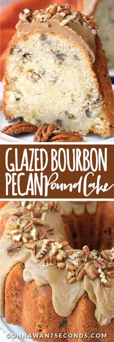 Buttery, rich, tender Pound Cake loaded with Pecans, just the right amount of Bourbon, and topped with a luscious Caramel Glaze!
